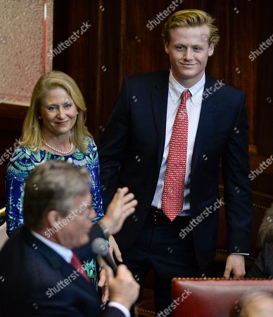 Stock Picture of Ted Kennedy Jr., Kiki Kennedy, Ted Kennedy III State Sen. Ted Kennedy Jr., D-Branford, left, introduces his wife Kiki and son Ted Kennedy III during opening session at the state Capitol, in Hartford, Conn