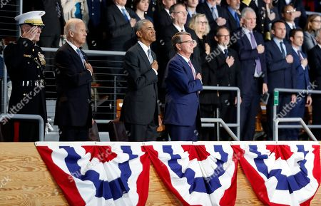 Barack Obama, Joe Biden, Ashton Carter, Joseph Dunford President Barack Obama, Vice President Joe Biden, Defense Secretary Ashton Carter, and Joint Chiefs Chairman Gen. Joseph Dunford, stand during the playing of the national anthem during an Armed Forces Full Honor Farewell Review for the president, at Conmy Hall, Joint Base Myer-Henderson Hall, Va