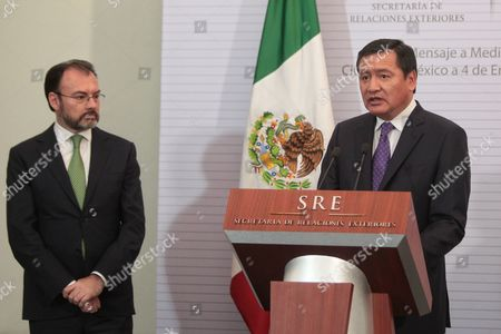 Stock Image of Mexico's new Minister of Foreign Affairs Luis Videgaray (L) and the Secretary of the Interior Miguel Angel Osorio Chong (R) take part in a press conference after the takeover of Videgaray as new Foreign Affair's Minister in Mexico City, Mexico, 04 January 2017. Mexican President Enrique Pena Nieto dismissed on 04 January 2017 the Secretary of Foreign Relations Claudia Ruiz Massieu and swore in former Secretary of Treasury Luis Videgaray.
