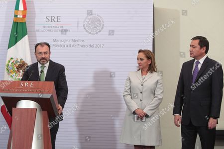 Stock Picture of Mexico's new Minister of Foreign Affairs Luis Videgaray (L), accompanied by the outgoing secretary of Foreign Affairs Claudia Ruiz Massieau (C) and the Secretary of the Interior Miguel Angel Osorio Chong (R) speaks during a press conference after his takeover as new Foreign Affair's Minister in Mexico City, Mexico, 04 January 2017. Mexican President Enrique Pena Nieto dismissed on 04 January 2017 the Secretary of Foreign Relations Claudia Ruiz Massieu and swore in former Secretary of Treasury Luis Videgaray.