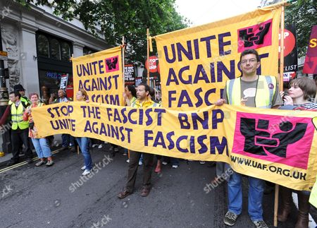Around a Thousand People From Across the United Kingdom Take to the Streets of London Britain on 21 June 2008 to Show a United Opposition to Racism Fascist and Right-wing Organisations Like the British National Party (bnp) Politicians Trade Union and Faith Leaders Have Joined Campaigners on a March From London's City Hall - where the British National Party Bnp's Richard Barnbrook is Now an Assembly Member - to Trafalgar Square the Demonstration Will Launch a Year-long Campaign to Prevent the Bnp Making Any Further Gains in Next June's European Parliament Local Council and City Mayoral Elections United Kingdom London