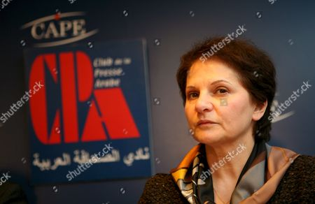 Delegate For Palestine Hind Khoury Talks to the Media About the Situation of the Palestinans Prisoners in Israel During a Press Conference at the Center For the Foreign Press in Paris France 03 March 2008