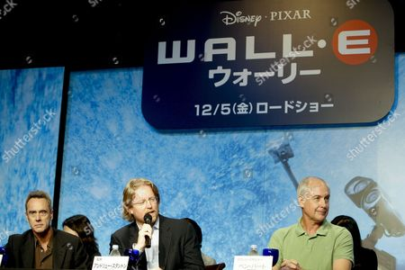 Us Director and Director of the Movie 'Wall-e' Andrew Stanton (c) Speaks As His Colleagues and Producer Jim Morris (l) and Sound & Character Voice Designer Ben Burtt (r) Look on During a Press Conference Held in Tokyo Japan 08 October 2008 to Promote the Film Wall-e is a Computer-animated Science Fiction Film That Tells a Story About Wall-e a Robot Designed to Clean Up a Polluted Earth and His Love and Adventure with Another Robot Eve the Movie Will Hit the Cinemas All Over Japan on 05 December 2008 Japan Tokyo