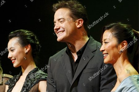 From L-r Chinese Actress Isabella Leong Us Actor Brendan Fraser and Malaysian Actress Michelle Yeoh All Cast Members of Us Film 'The Mummy: Tomb of the Dragon Emperor' Pose For the Photographers During the Japan Premiere in Tokyo 04 August 2008 Directed by Us Director Rob Cohen the Third in a Series of Box Office Hits the Latest Movie Tells the Story of Adventurer Rick O'connell (fraser) who Combats the Resurrected Han Emperor (jet Li) in an Epic That Races From the Catacombs of Ancient China High Into the Frigid Himalayas the Movie Will Hit the Cinemas All Over Japan on 16 August 2008 Japan Tokyo