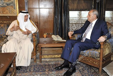 Saudi Prince Khaled Al-faisal Bin Abdul Aziz Al-saud Governor of Mecca (l) Meets with Lebanese Parliament Speaker Nabih Berri (r) at Berri's House in Beirut Lebanon 06 December 2010 Al-faisal in Beirut to Attends the Ninth Annual Conference to the Arab Thought Foundation's Fikr 9 on 08 and 09 December 2010 Lebanon Beirut