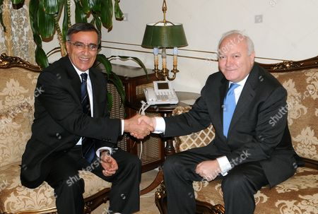 Lebanese Foreign Minister Ali Shami (l) Welcomes Spanish Foreign Minister Miguel Angel Moratinos (r) at the Lebanese Foreign Ministry in Beirut Lebanon 09 February 2010 Moratinos Whose Country Currently Holds the European Union Presidency is on an Official Visit to Lebanon Lebanon Beirut