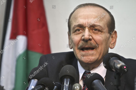 Secretary General of the Council of the Palestine Liberation Organization (plo) Yasser Abed Rabbo Speaks During a Press Conference in the West Bank Town of Ramallah on 24 January 2011 Concerning the 1 600 Secret Documents Published by Al-jazeera About the Israeli Palestinian Negotiations Palestinian Officials Monday Questioned the Authenticity of Documents Published by Al-jazeera Which the Qatari Television Channel Claims Show Palestinian Negotiators Offering Israel 'Unprecendented' Concessions Over Occupied East Jerusalem - Ramallah