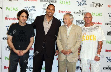 Stock Photo of George Maloof, Dwayne Johnson, Dennis Hopper and Johnny Brenden