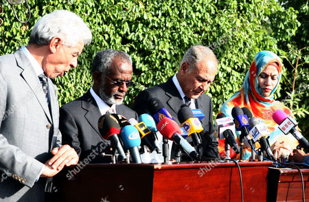 Stock Image of (l-r) Libyan Foreign Minister Musa Kusa Sudanese Foreign Minister Ali Karti Egyptian Foreign Minister Ahmed Abul Gheit and Secretary of State of Mauritania Naha Mouknass Give a Joint Press Statement in Khartoum Sudan 21 December 2010 Sudanese President Omar Al-bashir Met with the Leaders of Egypt Mauritania Libya and Southern Sudan to Discuss the Future of His Country Ahead of the Referendum on Self Determination For the People of South Sudan That Will Be Held on 09 January 2011 Sudan Khartoum