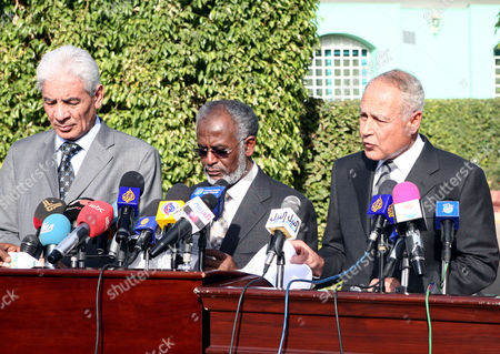 (l-r) Libyan Foreign Minister Musa Kusa Sudanese Foreign Minister Ali Karti and Egyptian Foreign Minister Ahmed Abul Give a Joint Press Statement in Khartoum Sudan 21 December 2010 Sudanese President Omar Al-bashir Met with the Leaders of Egypt Mauritania Libya and Southern Sudan to Discuss the Future of His Country Ahead of the Referendum on Self Determination For the People of South Sudan That Will Be Held on 09 January 2011 Sudan Khartoum
