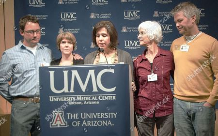 Jenny Douglas (c) the Daughter of Shooting Victim Ronald Barber is Joined Byfamily Members Jason Blake (l) Crissi Blake (2-l) Jenny Blake Nancy Barber (2-r) and Gawain Douglas (r) As She Talks to the Press About Her Father's Injury at the University Medical Center in Tucson Arizona Usa 12 January 2011 where He is Being Treated Alleged Gunman Jared Loughner Killed Six People and Wounded 15 Others in a Shooting Rampage in a Shopping Center in Tucson on 08 January 2011 where Us Congresswoman Gabrielle Giffords was Meeting with Constituents United States Tucson