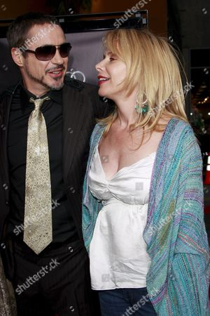Actor Robert Downey Jr and Rosanna Arquette at the 'Iron Man' Premiere in Los Angeles California 30 April 2008 This is the Story of a Billionaire Industrialist and Genius Inventor Who is Kidnapped and Forced to Build a Devastating Weapon Downey Plays the Title Role in the Film and Gwyneth Paltrow the Female Lead