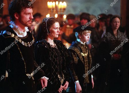 Stock Picture of 'Henry Viii' -   Prince Edward (Hugh Mitchell), Catherine Parr (Clare Holman), Thomas Seymour (William Houston)