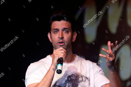 Bollywood actor Hrithik Roshan speaks during the song launch of his film Kaabil in Mumbai, India, . The film is scheduled for release on Jan. 25