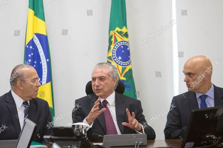 Michel Temer, Alexandre de Moraes, Eliseu Padilha Brazil's President Michel Temer, center, speaks with his Chief of Staff Eliseu Padilha, left, and the Justice Minister Alexandre de Moraes during a meeting with the Institutional Security Council of the Federal Government regarding the deadly prison riots in Amazonas state, at the Planalto Presidential Palace, in Brasilia, . Brazil's bar association is suing the Amazonas state government, accusing him of negligence in regards to the riots and a judge has given Gov. Jose Melo 72 hours to respond to the accusation