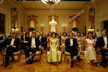 Caspar Phillipson as [John Fitzgerald Kennedy,] Natalie Portman as [Jackie Kennedy] and Peter Sarsgaard as [Bobby Kennedy]