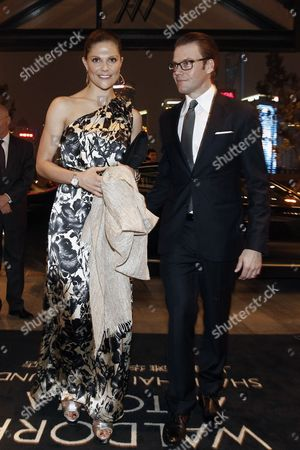Crown Princess Victoria (l) of Sweden and Prince Daniel Westling (r) Pose For a Photograph As They Arrive at Shanghai Waldorf Astoria Hotel in Shanghai China 14 October 2010 the Swedish Royals Are in Shanghai to Attend the Sino-swedish Symbiocare Forum at the World Expo China Shanghai