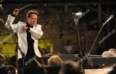 Russian Pianist Composer and Conductor Mikhail Pletnev Conducts the Russian National Orchestra During the Opening Concert of the Jubilee 50th Edition of Ohrid Summer Festival at the Antique Theatre in Ohrid the Former Yugoslav Republic of Macedonia on 12 July 2010 on 07 July 2010 Media Reported That the 53-year-old Pletnev was Arrested in Thailand on Child Molestation Charges the Arrest and Charges Were Later Denied by the Local Russian Embassy and Russia's Ministries of Culture and Foreign Affairs Have Taken Steps to Clarify the Situation As a Misunderstanding the Festival's Jubilee Edition Will Offer Numerous Performances of Domestic and Foreign Artists Ensembles Soloists Chamber Structures Theatre and Ballet Plays Macedonia, the Former Yugoslav Republic of Ohrid