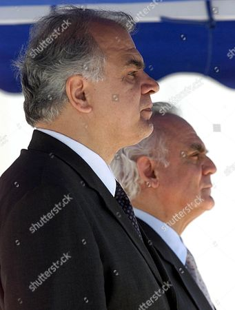 Athens Greece: Greek Minister of Defense Akis Tsochatzopoulos (r) and His Yugoslav Counterpart Slobodan Krapovic Listen to the National Anthems During the Official Welcome Ceremony in Greek Ministry of Defense Wednesday 16 May 2001