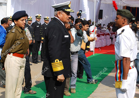 Indian Navy Chief Admiral Nirmal Verma (c) Interacts with a Cadet During the Inauguration of a Naval Health Camp in Hoshangabad Madhya Pradesh India on 30 November 2010 Admiral Nirmal Verma Visited His Hometown Hoshangabad and Visited in the District Hospital For a Health Camp India Hoshangabad