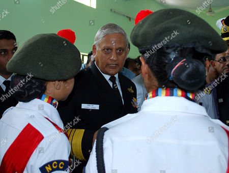 Indian Navy Chief Admiral Nirmal Verma (c) Interacts with Cadets During the Inauguration of a Naval Health Camp in Hoshangabad Madhya Pradesh India on 30 November 2010 Admiral Nirmal Verma Visited His Hometown Hoshangabad and Visited in the District Hospital For a Health Camp India Hoshangabad