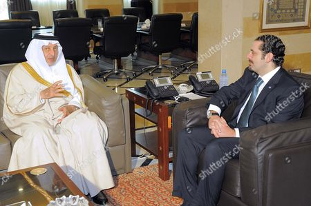 Saudi Prince Khaled Al-faisal Bin Abdul Aziz Al-saud Governor of Mecca (l) Meets with Lebanese Prime Minister Saad Hariri (r) at the Government Palace in Beirut Lebanon 06 December 2010 Al-faisal is in Beirut to Attends the Ninth Annual Conference of the Arab Thought Foundation's Fikr 9 on 08 and 09 December 2010 Lebanon Beirut