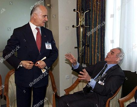 Skopje Macedonia: Greek Minister of Defence Akis Tsochatzopoulos (r) Gestures While Talking with His Turkish Counterpart Sabahtin Cakmakogly (l) During Their Meeting at the Frames of South-eastern Defence Ministerial Meeting in Skopje Thursday 05 April 2001