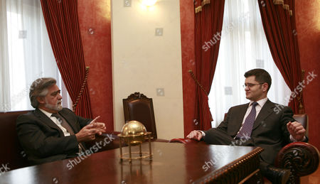 Portugal Minister of Forigin Affairs Luis Amado (l) Talking with His Caunterpart Serbian Minister of Forigin Affairs Vuk Jeremic (r) in Belgrade Serbia 22 March 2011 Serbia and Montenegro Belgrade