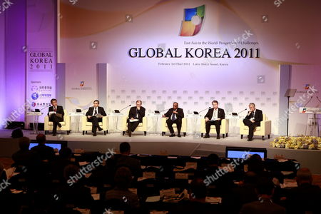 (l-r) Wook Chae President Korea Institute For International Economic Policy Haruhiko Kuroda President Asian Development Bank Supachai Panitchpakdi Secretary-general United Nations Conference on Trade and Development K Kesavapany Director Institute of Southeast Asian Studies Jong-yong Yim 1st Vice Minister Ministry of Strategy and Finance of South Korea and Yongding Yu Director Institute of World Economics and Politics of the Chinese Academy of Social Sciences Talk About 'Visions and Prospects For East Asia Economic Integration' As Part Plenary Session During the Global Korea Conference in Seoul South Korea 24 February 2011 South Korea Are Holding the Global Korea Conference About 'East Asia in the World : Prospects and Challenges' Korea, Republic of Seoul