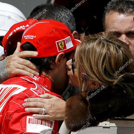 Brazilian Formula One Driver Felipe Massa of Ferrari (l) Celebrates with His Wife Rafaela Bassi at Park Ferme After He Clocked the Fastest Time and Got the Pole Position at Qualifying Session in Istanbul Turkey On 10 May 2008 Massa Got Pole Hamilton Second and Kovalainen Third Position the Formula One Grand Prix of Turkey Will Take Place at the Istanbul Park Circuit On 11 May
