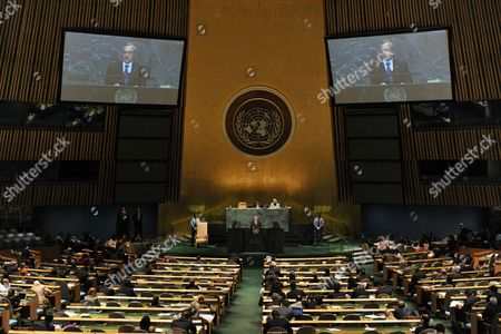 President of the Lebanese Republic General Michel Sleiman Speaks During the 64th General Debate of the United Nations General Assembly at United Nations Headquarters in New York New York Usa on 25 September 2009 United States New York