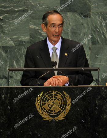 President of Guatemala Alvaro Colom Caballeros Speaks During the 64th General Debate of the United Nations General Assembly at United Nations Headquarters in New York New York Usa on 24 September 2009 United States New York