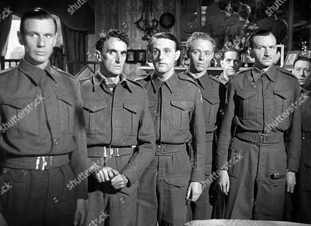 'The Way Ahead'   Film L-R.James Donald, John Laurie, Hugh Burden, Jimmy Hanley,  Stanley Holloway, Raymond Huntley and Leslie Dwyer