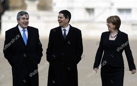 British Prime Minister Gordon Brown (left) Foreign Secretary David Miliband and Home Secretary Jaqui Smith (right) Walk Back to Downing Street After the Ceremonial Welcome of the Mexican President Felipe Calderon on Horse Guards Near Buckingham Palace London Britain 30 March 2009 the Mexican President and His Wife Are on a Four Day State Visit to the United Kingdom As Guests of the Queen Elizabeth Ii and Will Also Meet with British Prime Minister Gordon Brown United Kingdom London