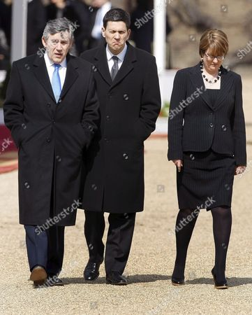 British Prime Minister Gordon Brown (left) Foreign Secretary David Miliband and Home Secretary Jaqui Smith (right) Walk Back to Downing Street After the Ceremonial Welcome of the Mexican President Felipe Calderon On Horse Guards Near Buckingham Palace London Britain 30 March 2009 the Mexican President and His Wife Are On a Four Day State Visit to the United Kingdom As Guests of the Queen Elizabeth Ii and Will Also Meet with British Prime Minister Gordon Brown