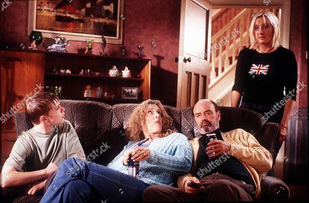 'Bob & Rose' TV - 2001 - Bob and Rose's secret is revealed on the local news. L-R) Dean (Christopher Foundtain), Carol (Barbara Marten), Trevor (Dave Hill) and Rose (Lesley Sharp).