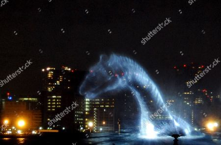 An Image of Nessie is Projected on a Water Screen During a Promotion Event For Film Director Jay Russell Latest Movie 'The Water Horse' in the Bay of Tokyo Japan 22 January 2008 Russell's Fantasy Film is an Adaption of Dick King-smith's Children's Novel the Water Horse Starring Alex Etel It Tells the Story of a Young Boy Discovering a Mysterious Egg That Hatches of a Creature Which Will Become the Loch Ness Monster Japan Tokyo