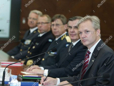 Stock Picture of Swedish Defense Minister Sten Tolgfors (r) Attends Republic of Korea -kingdom of Sweden Defense Minister's Meeting at the Ministry of National Defence in Seoul South Korea 21 June 2011 Defense Chiefs of South Korea and Sweden Hold Talks to Discuss Ways to Enhance Bilateral Military Exchanges and Cooperation in the Defense Industry Korea, Republic of Seoul