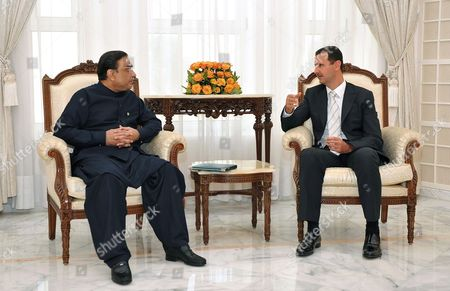 Syrian President Bashar Assad (r) Meets with His Pakistani Counterpart Asif Ali Zardari (l) at the Presidential Palace in the Mediterranean City of Latakia Syria on 9 August 2010 Zardari Accompanied by His Daughter and Son Asifa and Bilawal Bhutto Zardari is Expected to Discuss with Syrian Officials Ways of Improving Bilateral Relations and Other International Issues Syrian Arab Republic Damascus