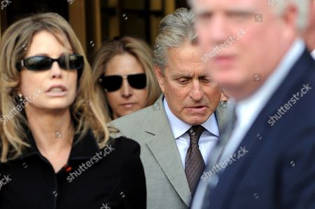 Stock Photo of Us Actor Michael Douglas (c) and His Ex-wife Diandra Douglas (l) Leave a Federal Courthouse After Attending the Sentencing of Their Son Cameron in New York New York Usa on 20 April 2010 a Judge Sentenced Michael Douglas' Son Cameron Douglas on Drug Charges to Five Years in Prison at the Hearing United States New York