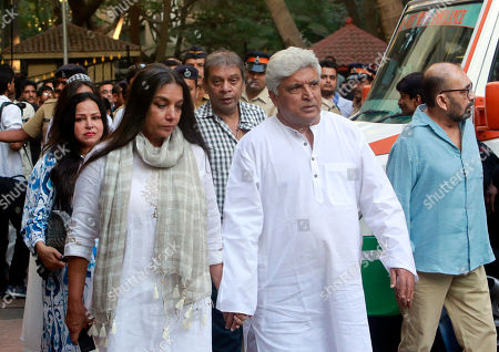 Stock Picture of Bollywood actress Shabana Azmi arrives with her husband Javed Akhtar to pay her final respects to noted Indian character actor Om Puri who died Friday in Mumbai, India, . In a career spanning more than three decades, Puri had won a slew of national awards and international fame for his work in several critically acclaimed films. He was made an honorary officer of the Order of the British Empire for his contribution to British cinema in 2004
