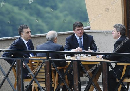 Montenegro President Filip Vujanovic (l) Kosovo President Fatmir Sejdiu (second L) Albanian President Bamir Topi (second R) and Macedonian President Gjorgje Ivanov (r) During Their Meeting in Prevalla Near Prizren Kosovo on 26 June 2010 Kosovo President Fatmir Sejdiu Called For This Third Regional Summit to Discus About Kolaboration in the Region Serbia and Montenegro Prizren