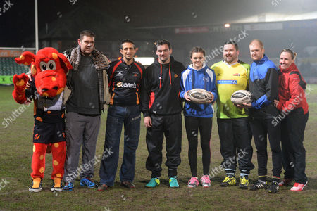 Stock Image of Newport Gwent Dragons vs Benetton Treviso. Participants of the up and under competition. Lance Chappell, Richard Jones, Sam Dickenson, Simon Spurr and Poppy Newman