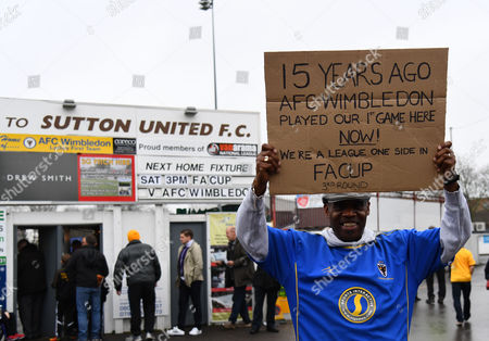 AFC Wimbledon fan Barry James who attended the first ever AFC Wimbledon match away to Sutton in the Combined Counties League in July 10th 2002 poses for a photo during the Emirates FA Cup Third Round match between Sutton United and AFC Wimbledon played at The Borough Sports Ground, Gander Green Lane, Sutton, Surrey on 7th January 2017