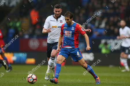 Mathieu Flamini of Crystal Palace and Gary Madine of Bolton Wanderers during the Emirates FA Cup 3rd Round match between Bolton Wanderers and Crystal Palace played at the Macron Stadium, Bolton on 7th January 2017