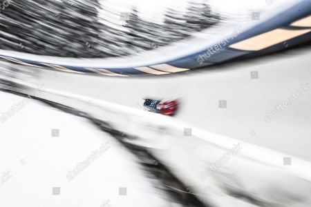 Steven Holcomb and Carlo Valdes of the USA in action during the two-man Bobsleigh World Cup event in Altenberg, Germany, 07 January 2017.