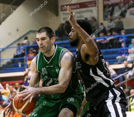 Hula Hoops Men's National Cup Semi-Final, Neptune Stadium, Cork 7/1/2017. SSE Airtricity Moycullen vs Griffith Swords Thunder. Moycullen's Paul Freeman with Justin Goldsborough of Swords