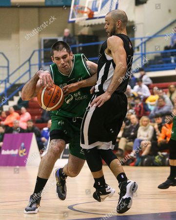 Hula Hoops Men's National Cup Semi-Final, Neptune Stadium, Cork 7/1/2017. SSE Airtricity Moycullen vs Griffith Swords Thunder. Moycullen's Paul Freeman with Isaac Westbrooks of Swords