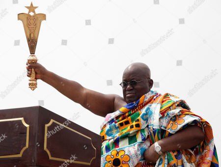 Ghana President elect Nana Akufo-Addo during his inauguration ceremony in Accra, Ghana, . Ghana's chief justice swore in the nation's newly elected President Nana Akufo-Addo amid a sea of people dressed in the red, blue and white colors of his party. Akufo-Addo, 72, won the Dec. 7 election on his third run for the office, defeating incumbent John Dramani Mahama