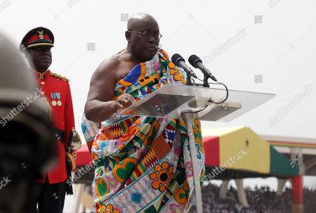 Ghana President elect Nana Akufo-Addo speaks during his inauguration ceremony in Accra, Ghana, . Ghana's chief justice swore in the nation's newly elected President Nana Akufo-Addo amid a sea of people dressed in the red, blue and white colors of his party. Akufo-Addo, 72, won the Dec. 7 election on his third run for the office, defeating incumbent John Dramani Mahama